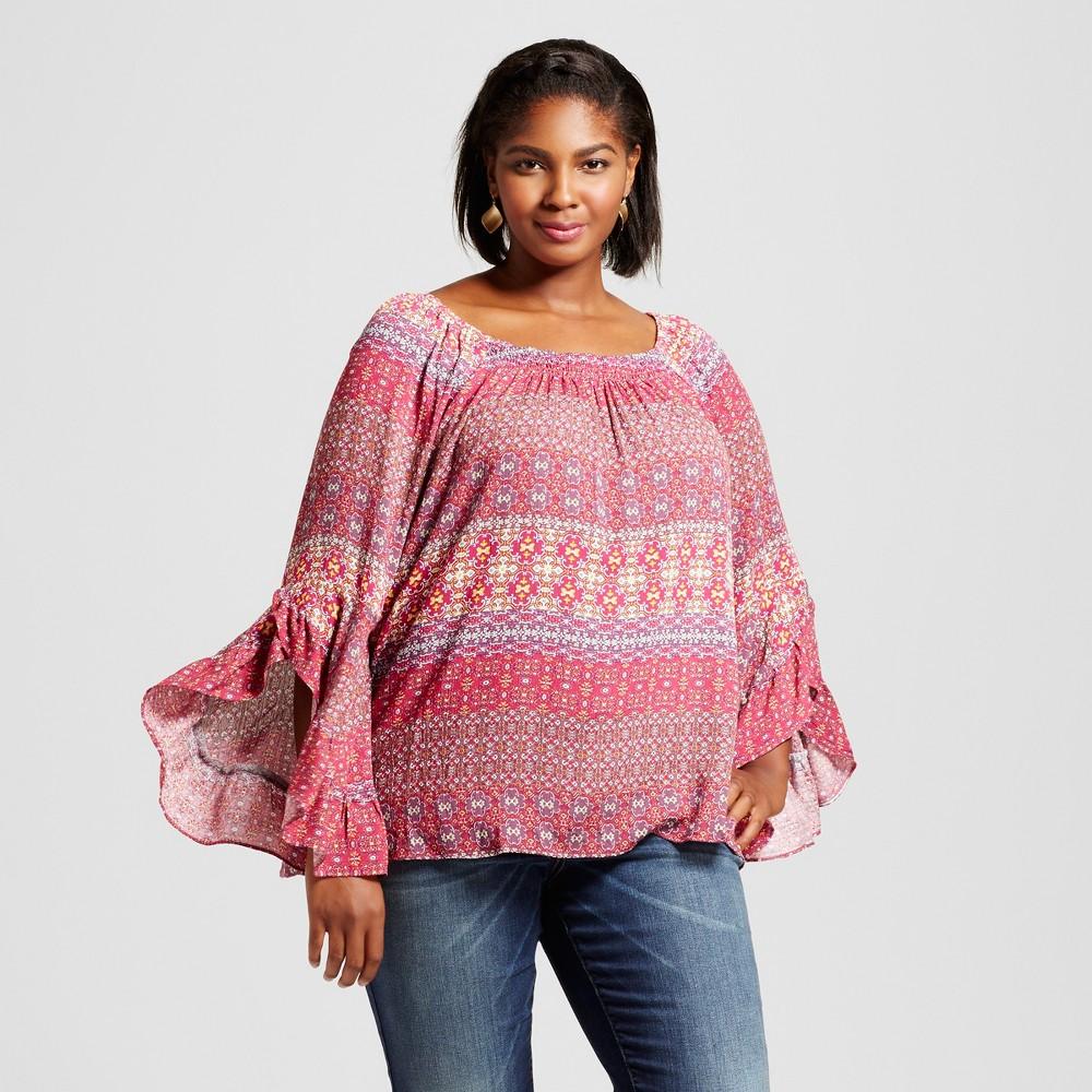 Womens Plus Size Blouse - JohnPaulRichard Red 1X