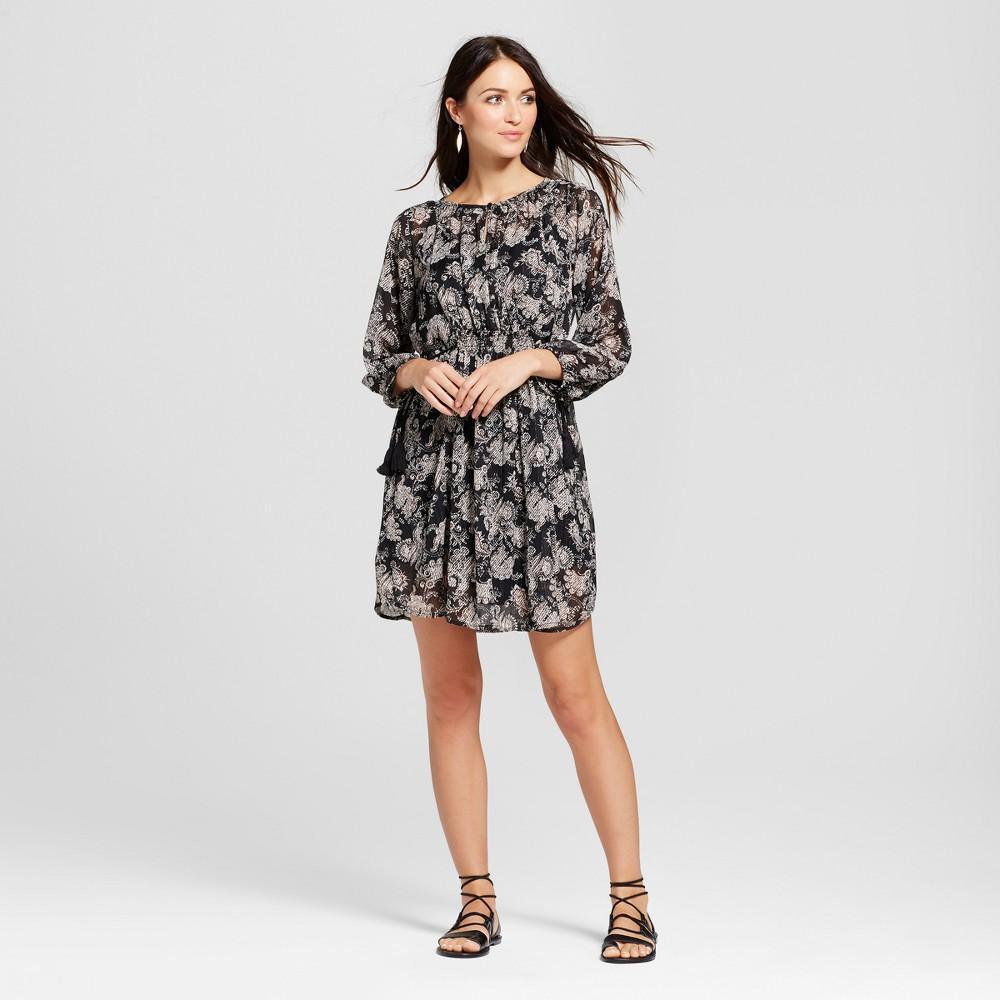 Womens Lurex Paisley Print Dress - Knox Rose Black L