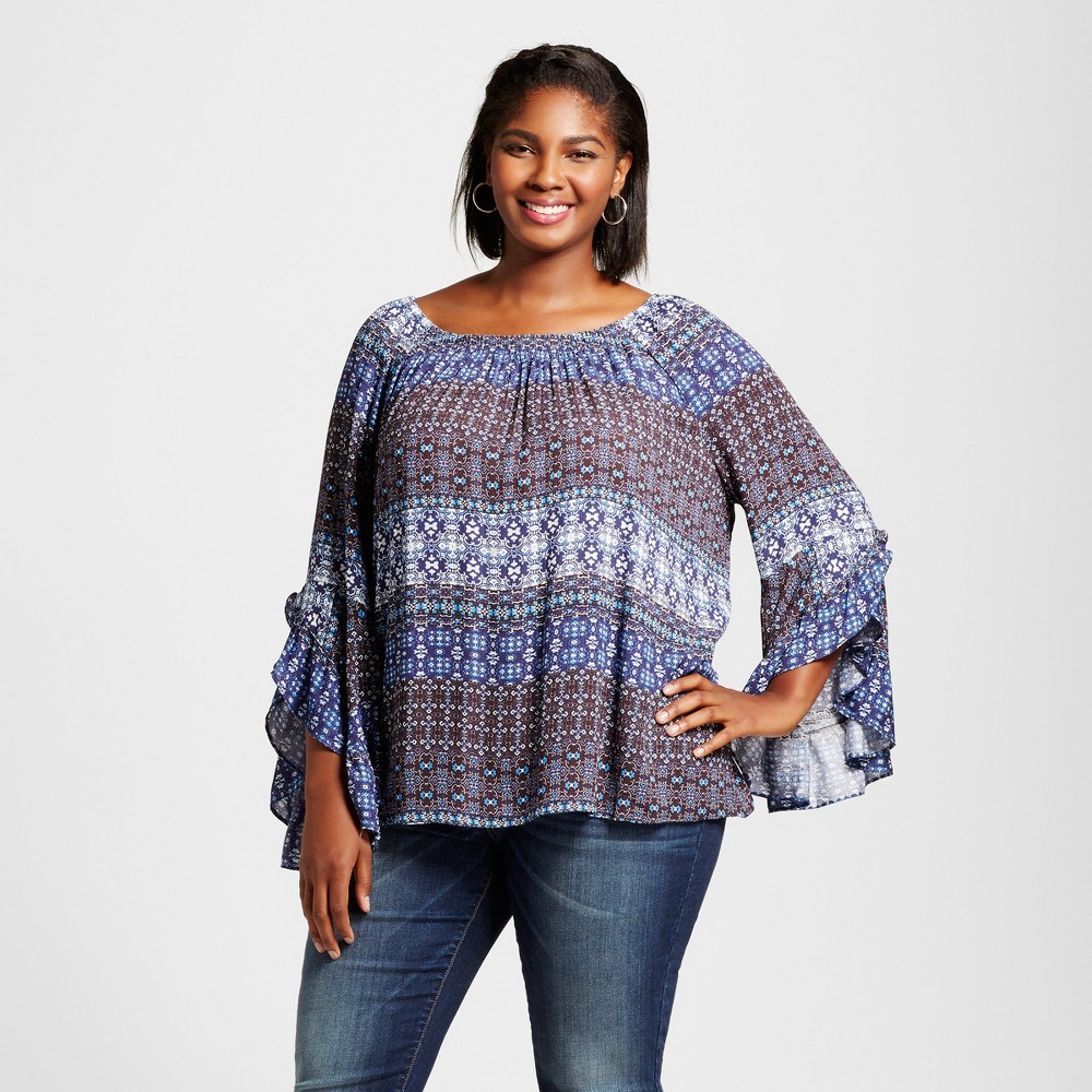 Womens Plus Size Blouse - JohnPaulRichard Blue 1X