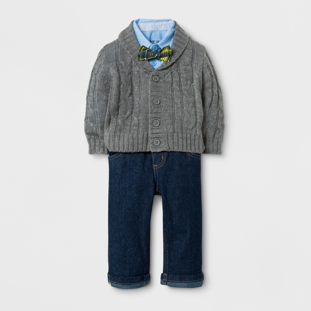 Baby Grand Signature Baby Boys Cable Cardigan and Denim Pants Suit Set - Gray 18M, Size: 18 M
