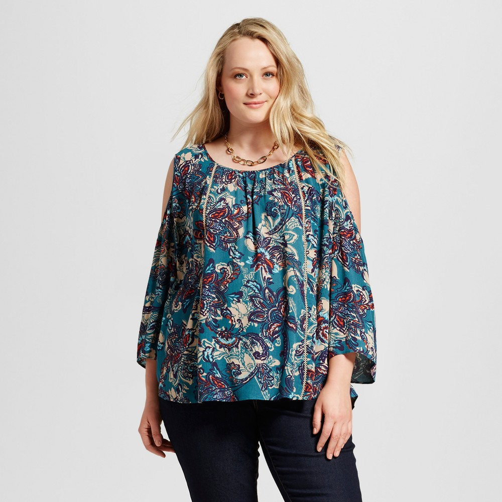 Womens Plus Size Floral Print Cold Shoulder Blouse Purple 2X - JohnPaulRichard