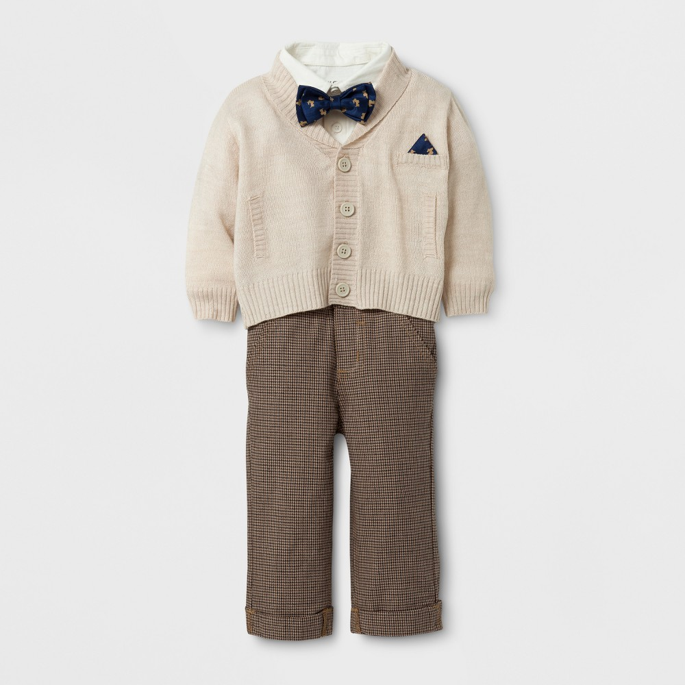 Baby Grand Signature Baby Boys Cardigan and Houndstooth Pants Suit Set - Tan 3-6M, Size: 3-6 M, Beige
