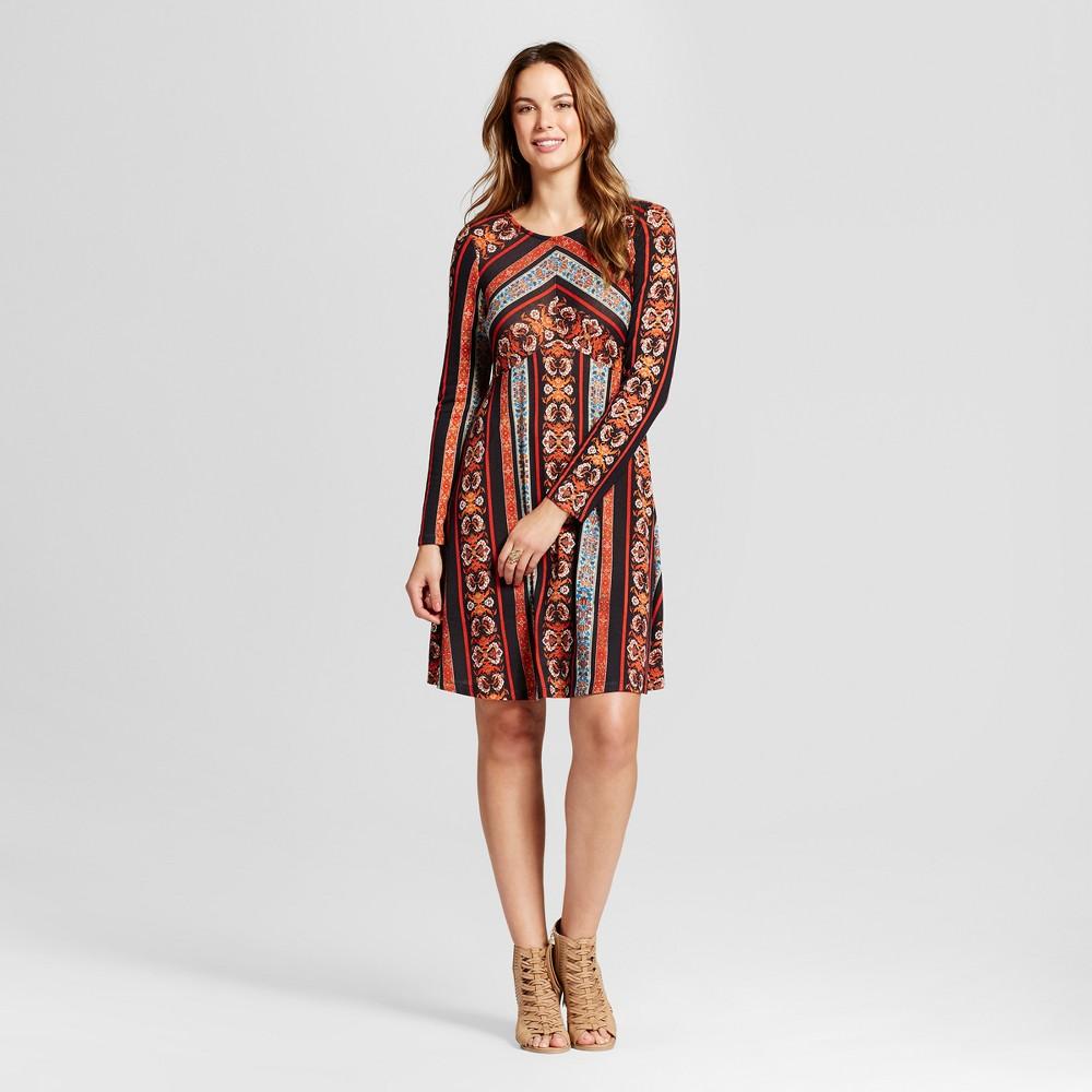 Women's Printed Knit Dress - Knox Rose Black/Orange Xxl, Multicolored