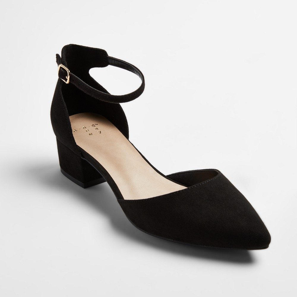 Womens Birdie Pointed Low Block Heel Pumps - A New Day Black 10