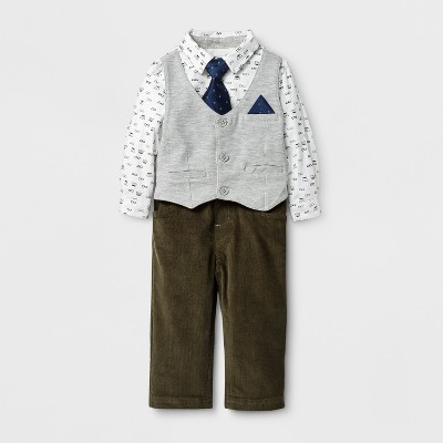Baby Grand Signature Baby Boys' Printed Shirt with Vest and Corduroy Pants Suit Set - Gray 18M