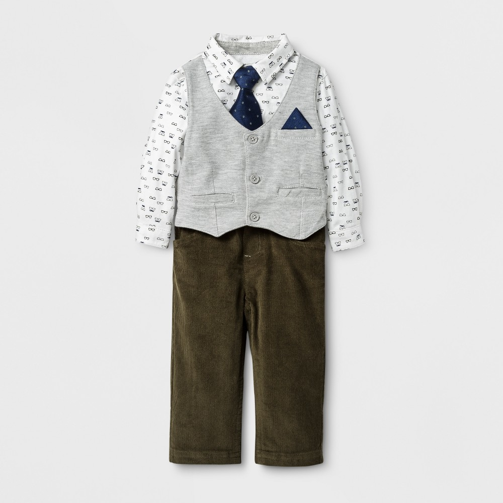 Baby Grand Signature Baby Boys Printed Shirt with Vest and Corduroy Pants Suit Set - Gray 18M, Size: 18 M