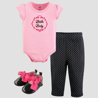 Hudson Baby Girls' Bodysuit, Pants and Shoe Set - Pink 6-9M