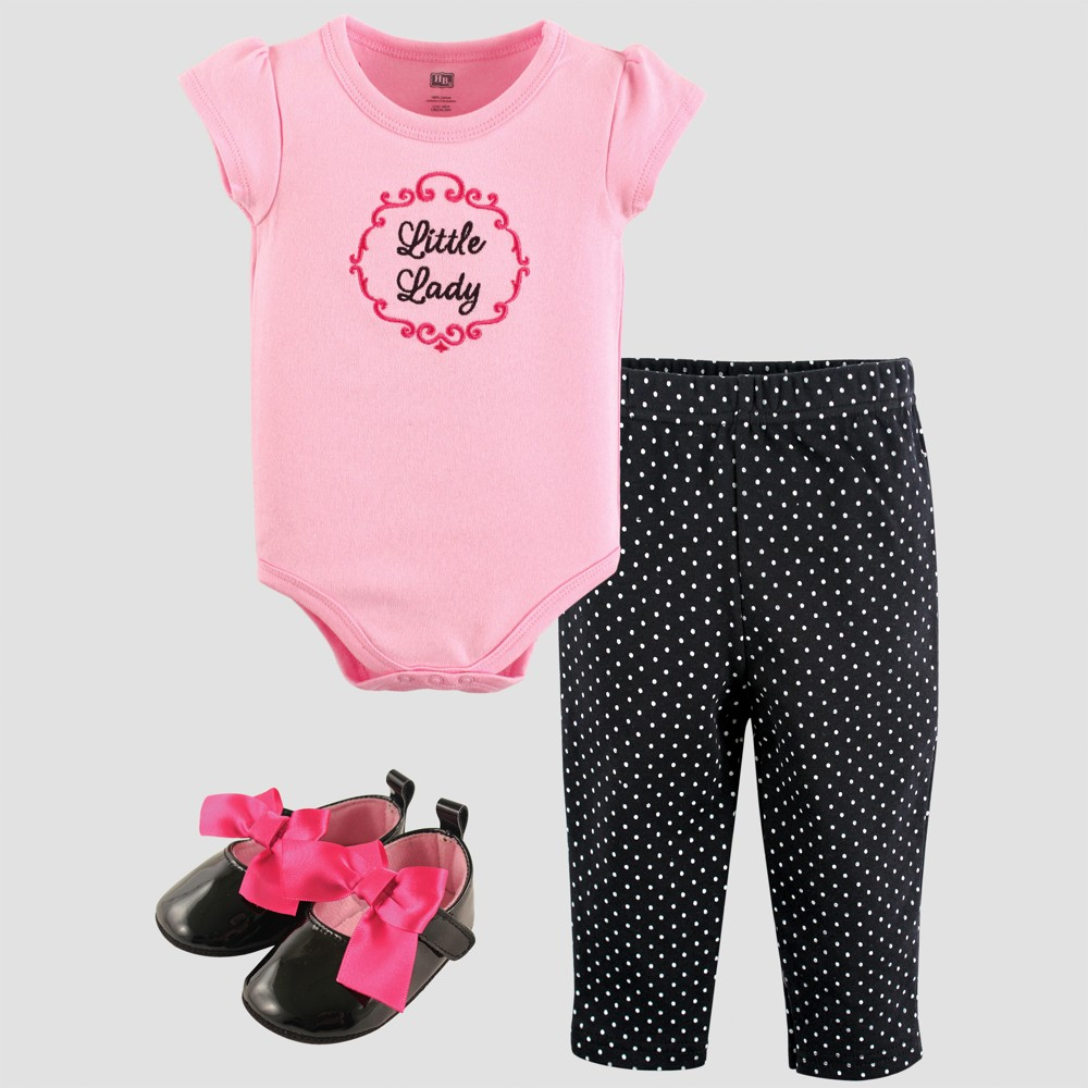 Hudson Baby Girls Bodysuit, Pants and Shoe Set - Pink 3-6M, Size: 3-6 M