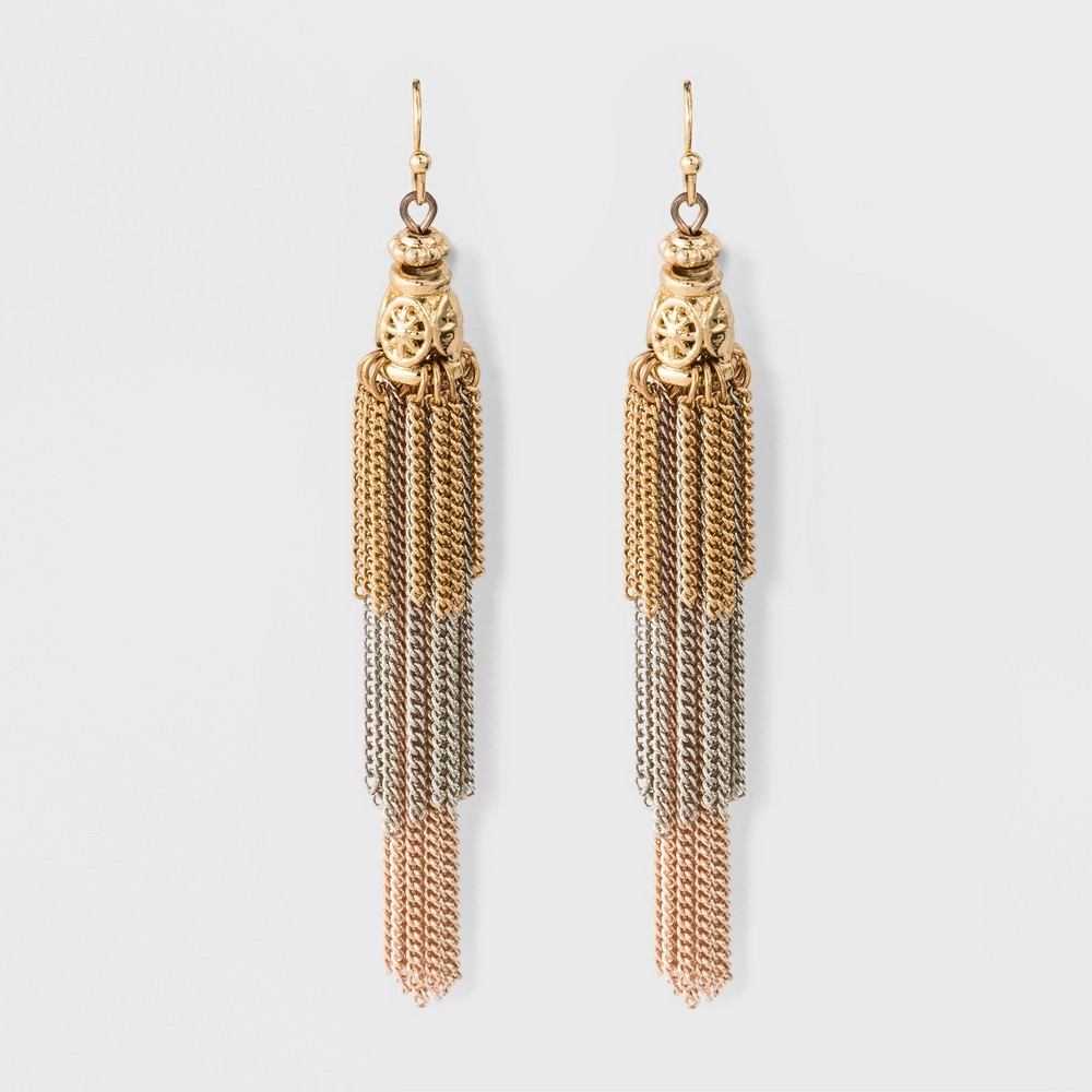 Womens Earring Layered Cascading Chain Tassel, Multi-Colored