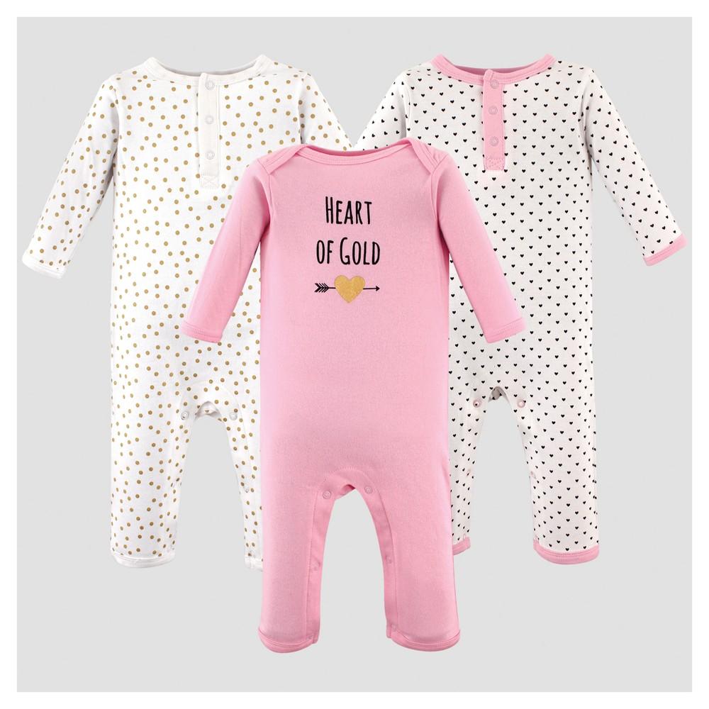 Hudson Baby Girls 3pk Union Suit Heart Set - Pink 6-9M, Size: 6-9 M