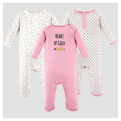 Hudson Baby Girls' 3pk Union Suit Heart Set - Pink 0-3M