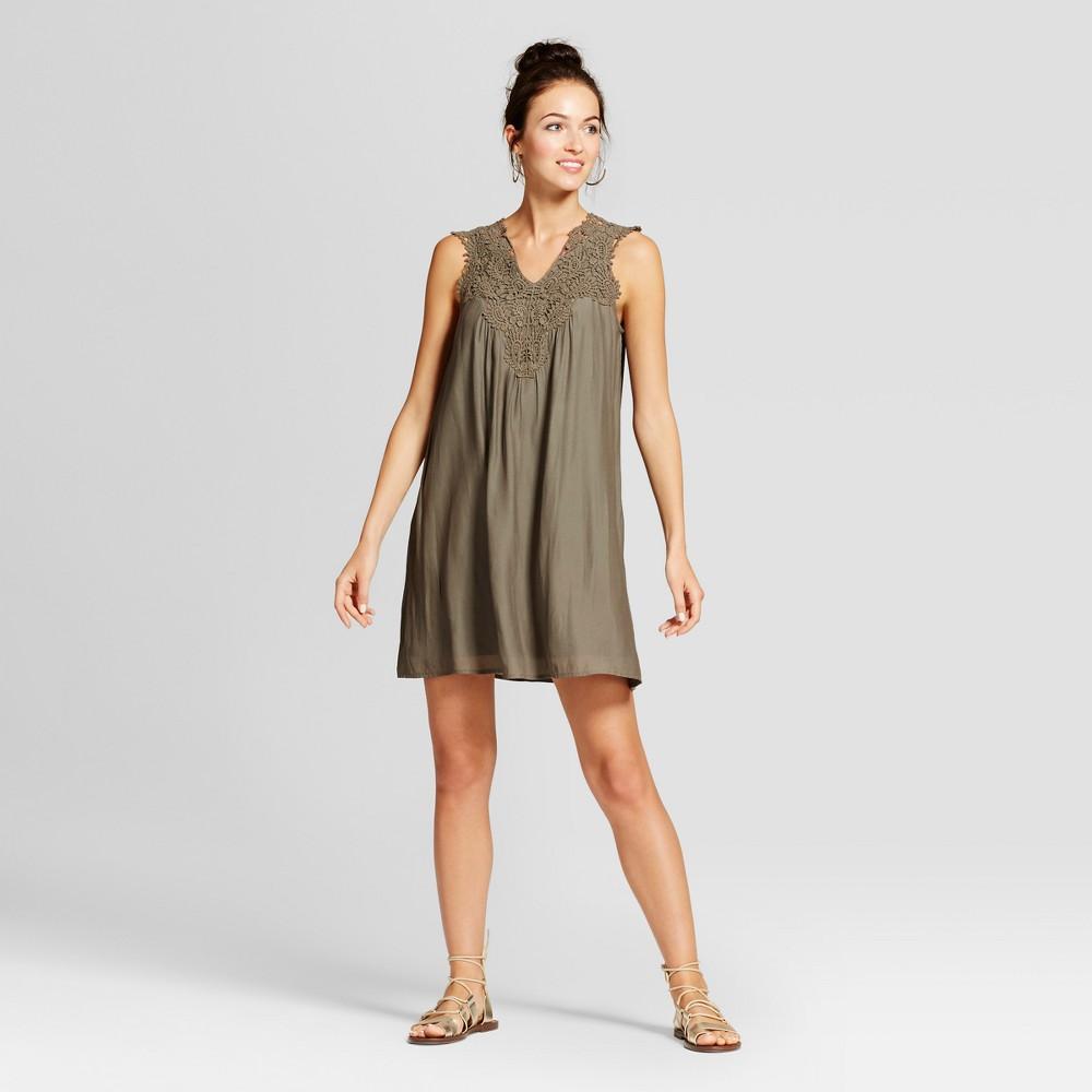 Womens Open Crochet Shift Dress - Knox Rose Olive XS, Green