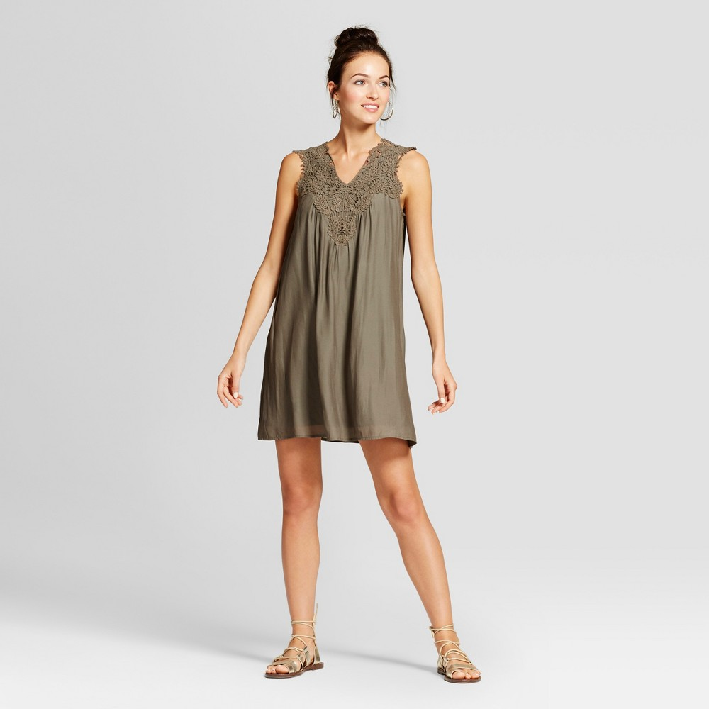 Womens Open Crochet Shift Dress - Knox Rose Olive S, Green