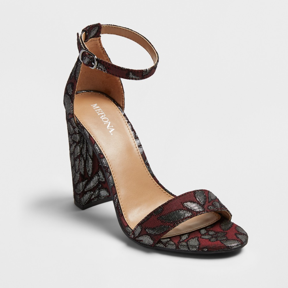 Womens Lulu Brocade Block Heel Sandal Pumps - Merona Burgundy 5, Red
