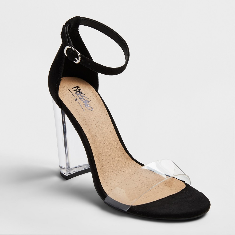 Womens Holly Lucite Block Heel Sandal Pumps - Mossimo Black 5.5