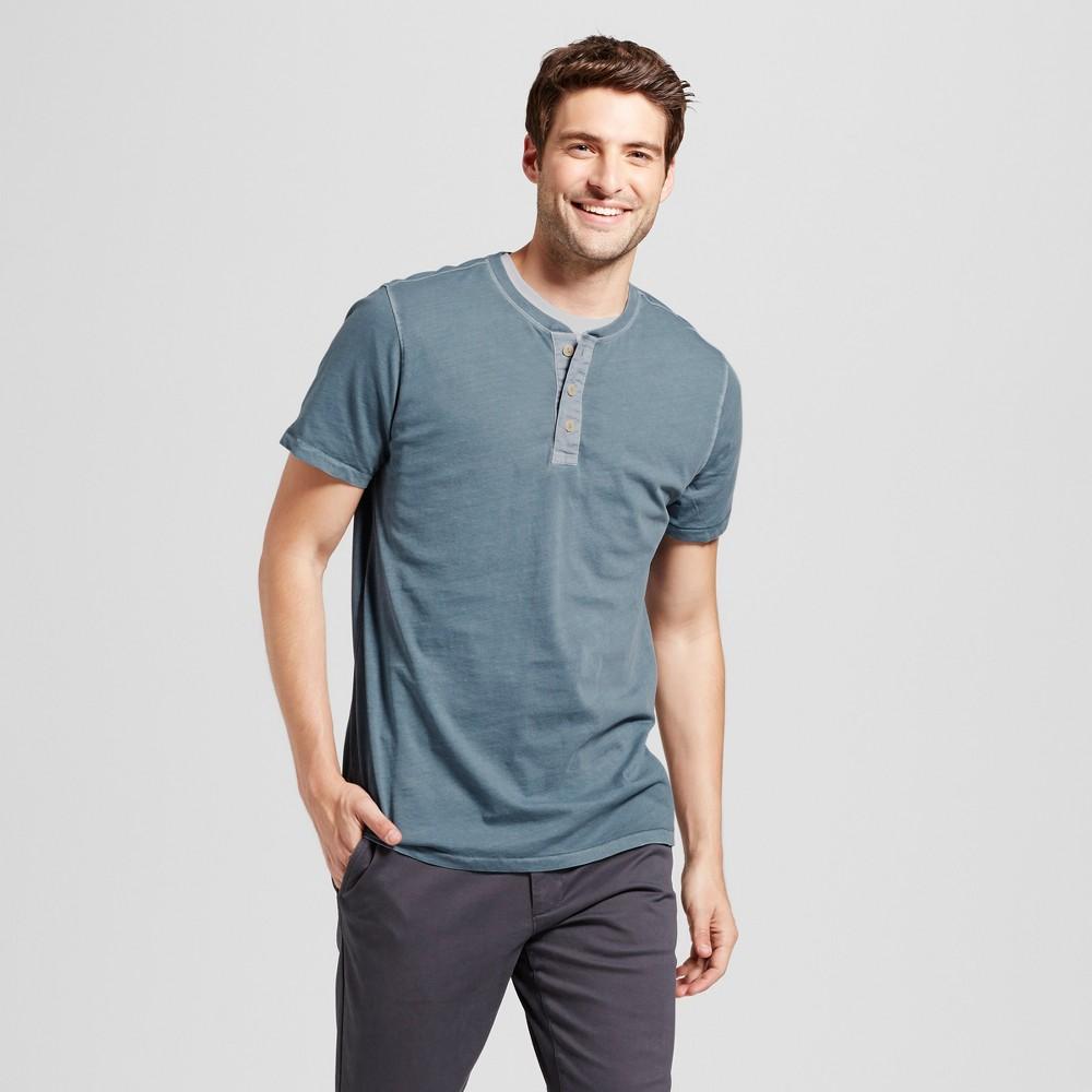 Mens Standard Fit Short Sleeve Henley T-Shirt - Goodfellow & Co Slate Blue M