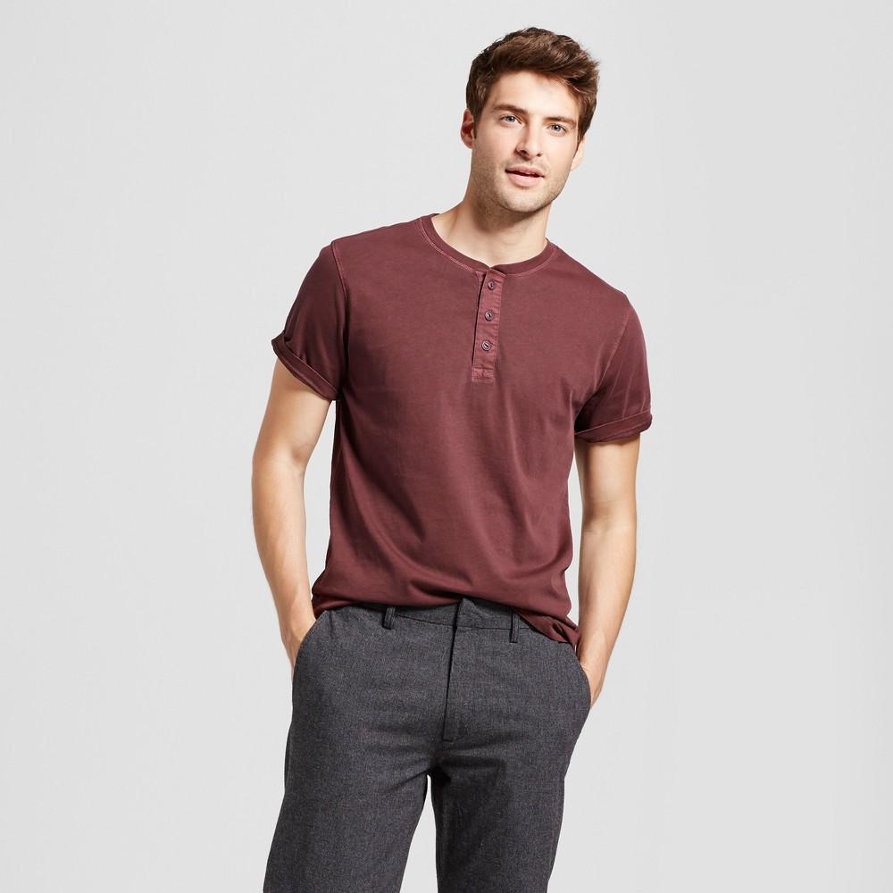 Mens Standard Fit Short Sleeve Henley T-Shirt - Goodfellow & Co Burgundy (Red) S