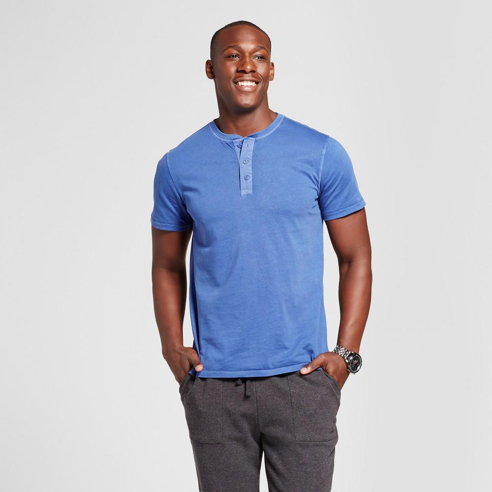 Mens Standard Fit Short Sleeve Henley T-Shirt - Goodfellow & Co Royal Blue XL