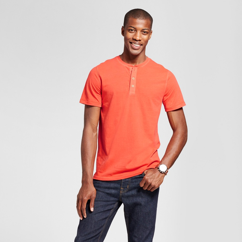 Mens Standard Fit Short Sleeve Henley T-Shirt - Goodfellow & Co Orange Zing M