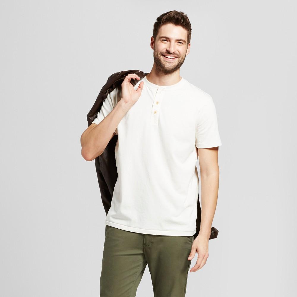 Mens Standard Fit Short Sleeve Henley T-Shirt - Goodfellow & Co White XL