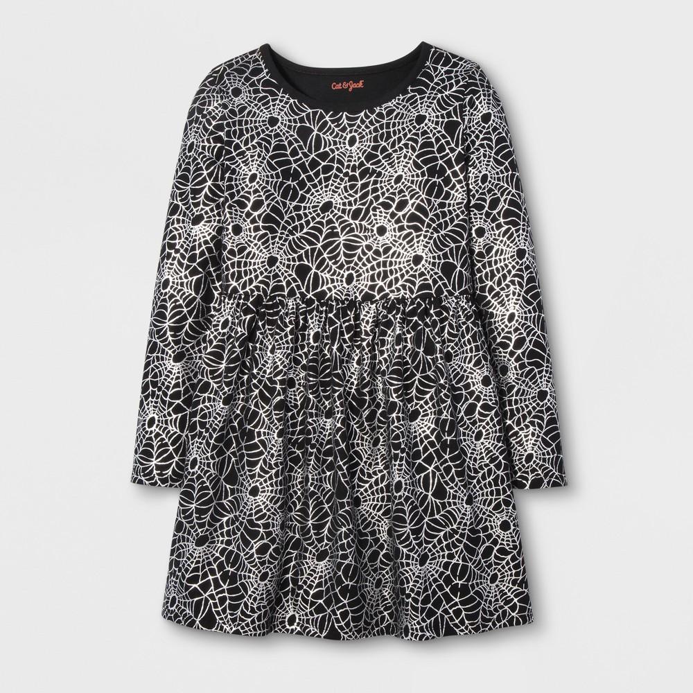 Girls Long Sleeve Spider Web Dress - Cat & Jack Black/White XL