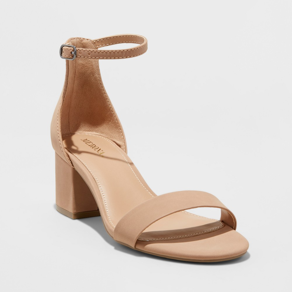 Womens Marcella Wide Width Block Heel Sandal Pumps - Merona Taupe (Brown) 8.5W, Size: 8.5 Wide