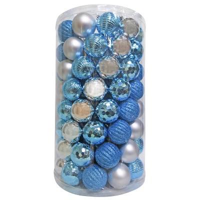 100ct 60mm Silver Blue Christmas Ornament Set - Wondershop™