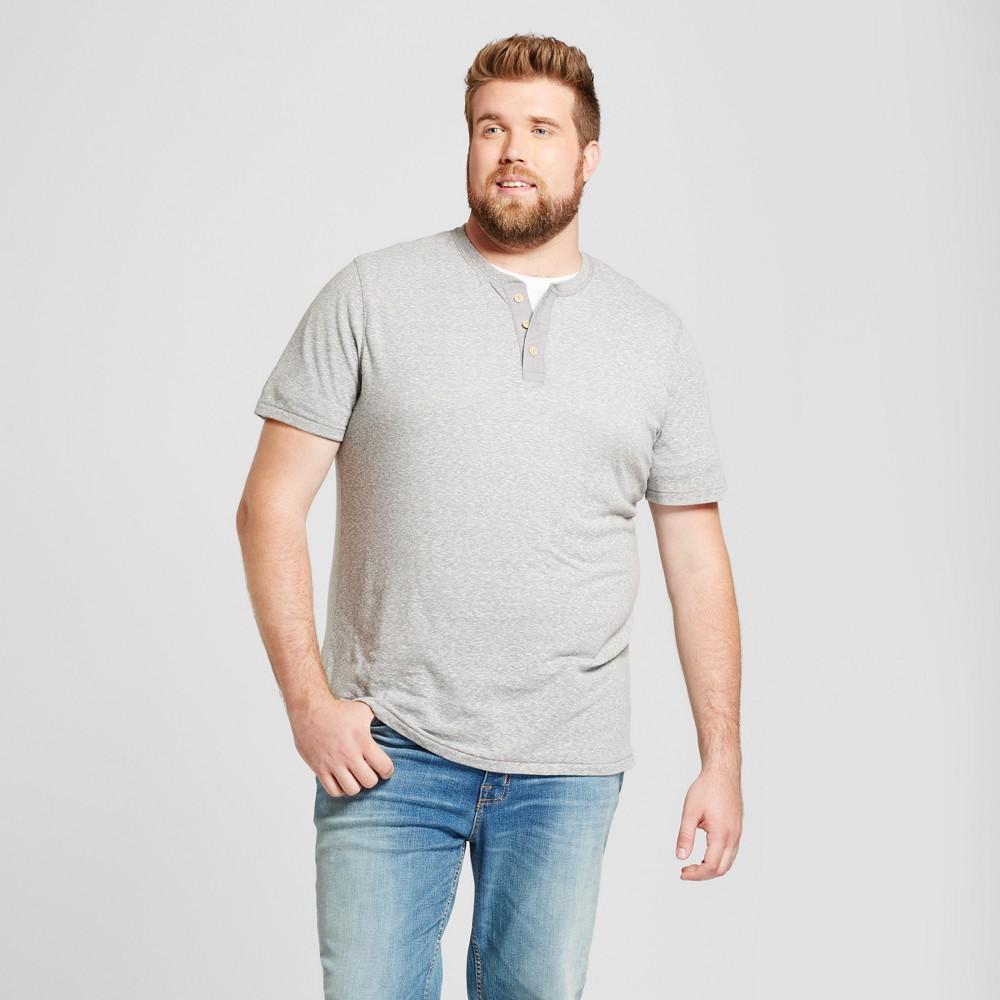 Mens Big & Tall Standard Fit Short Sleeve Henley T-Shirt - Goodfellow & Co Gray MT
