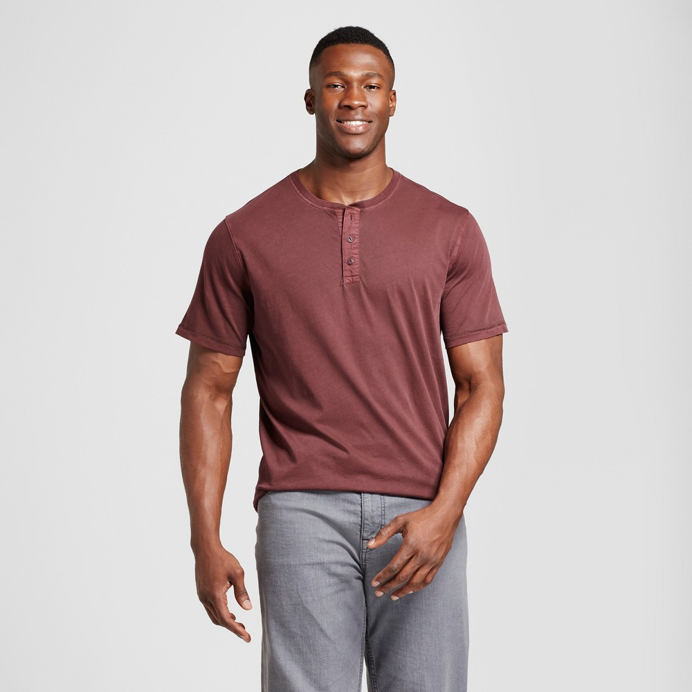 Mens Big & Tall Standard Fit Short Sleeve Henley T-Shirt - Goodfellow & Co Burgundy (Red) LT