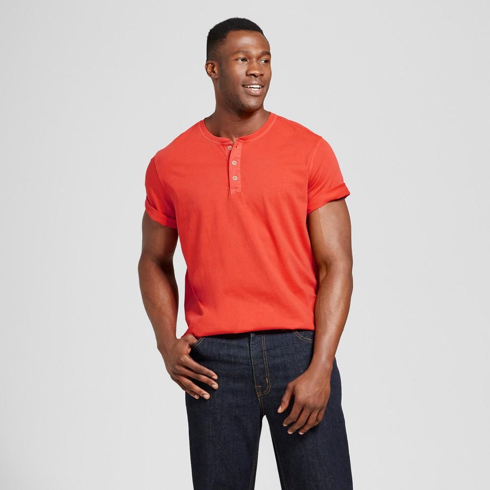 Mens Big & Tall Standard Fit Short Sleeve Henley T-Shirt - Goodfellow & Co Orange LT