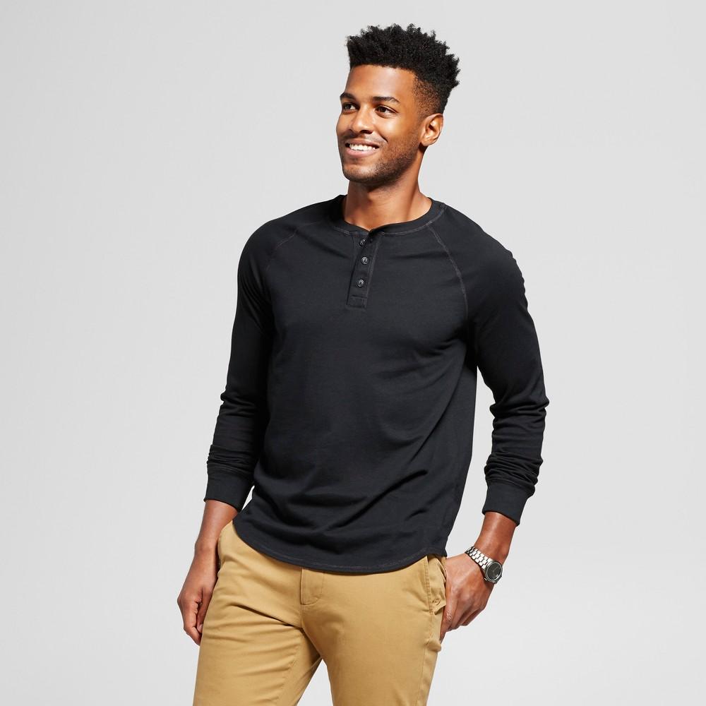 Mens Standard Fit Long Sleeve Henley T-Shirt - Goodfellow & Co Black Xxl