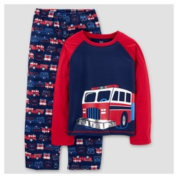 Just One You made by Carter's® Boys' Two Piece LS Poly Rescue Vehicles Pajama Set - Cayenne Opaque