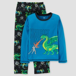 Just One You made by Carter's® Boys' Two Piece LS Poly Knight Time Dragon Pajama Set - Java Black