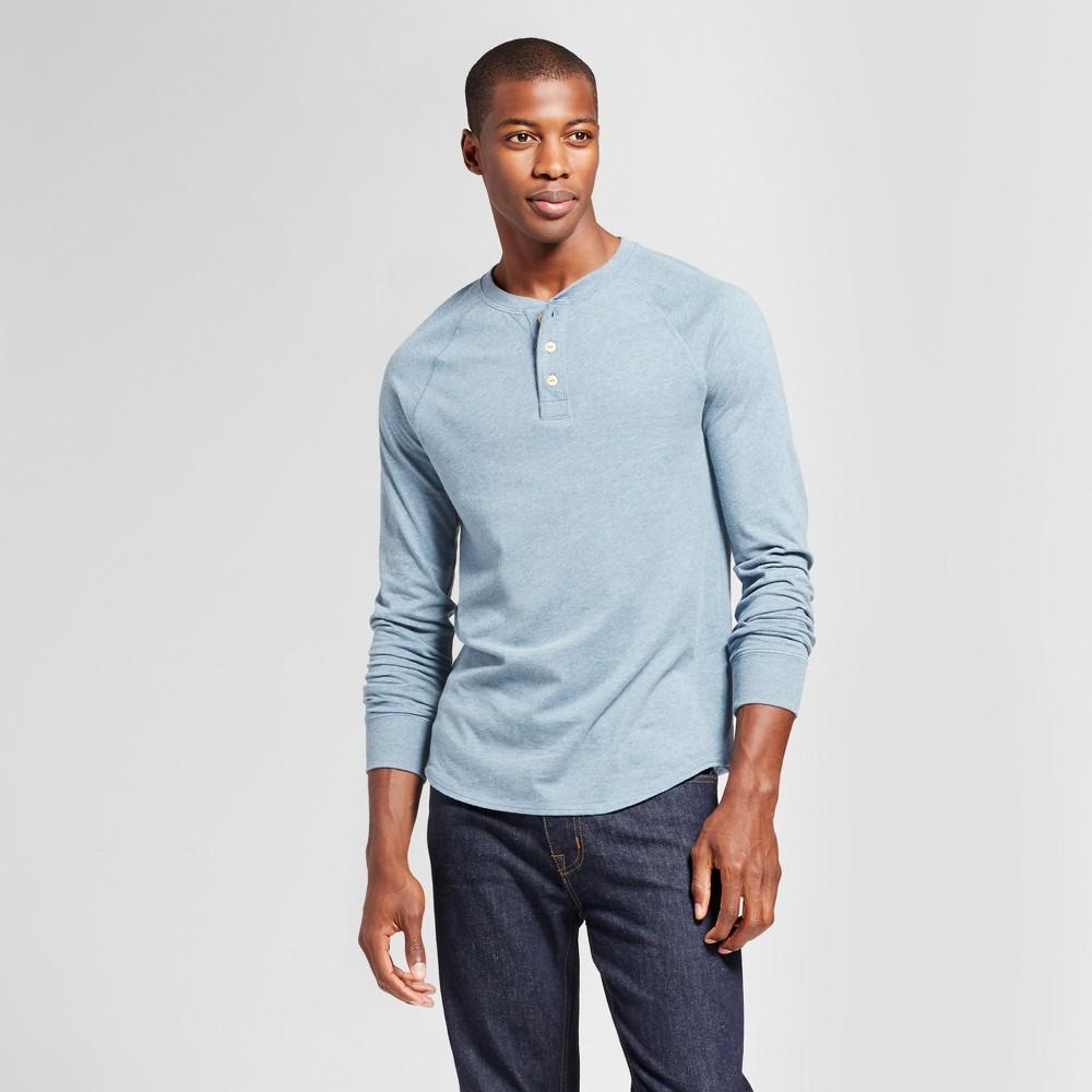 Mens Standard Fit Long Sleeve Henley T-Shirt - Goodfellow & Co Slate Blue XL