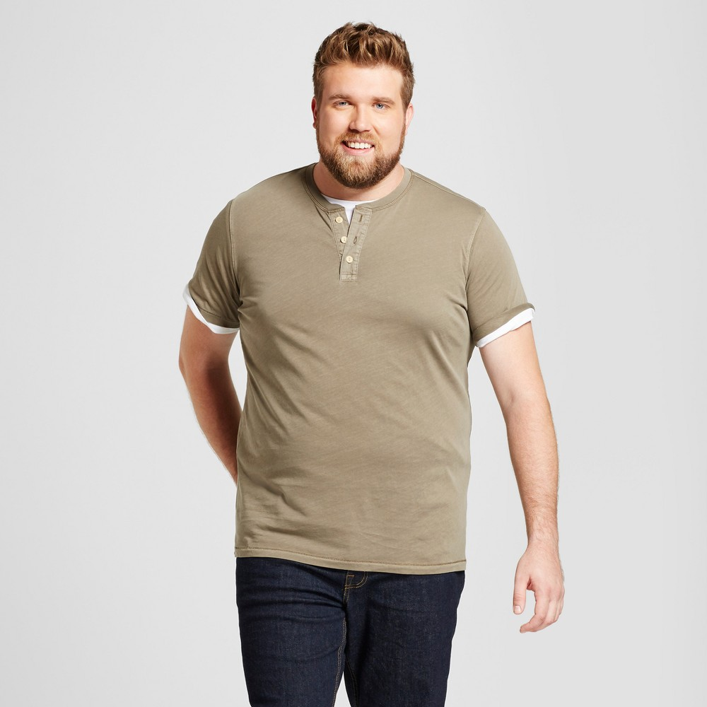 Mens Big & Tall Standard Fit Short Sleeve Henley T-Shirt - Goodfellow & Co Olive (Green) 3XBT