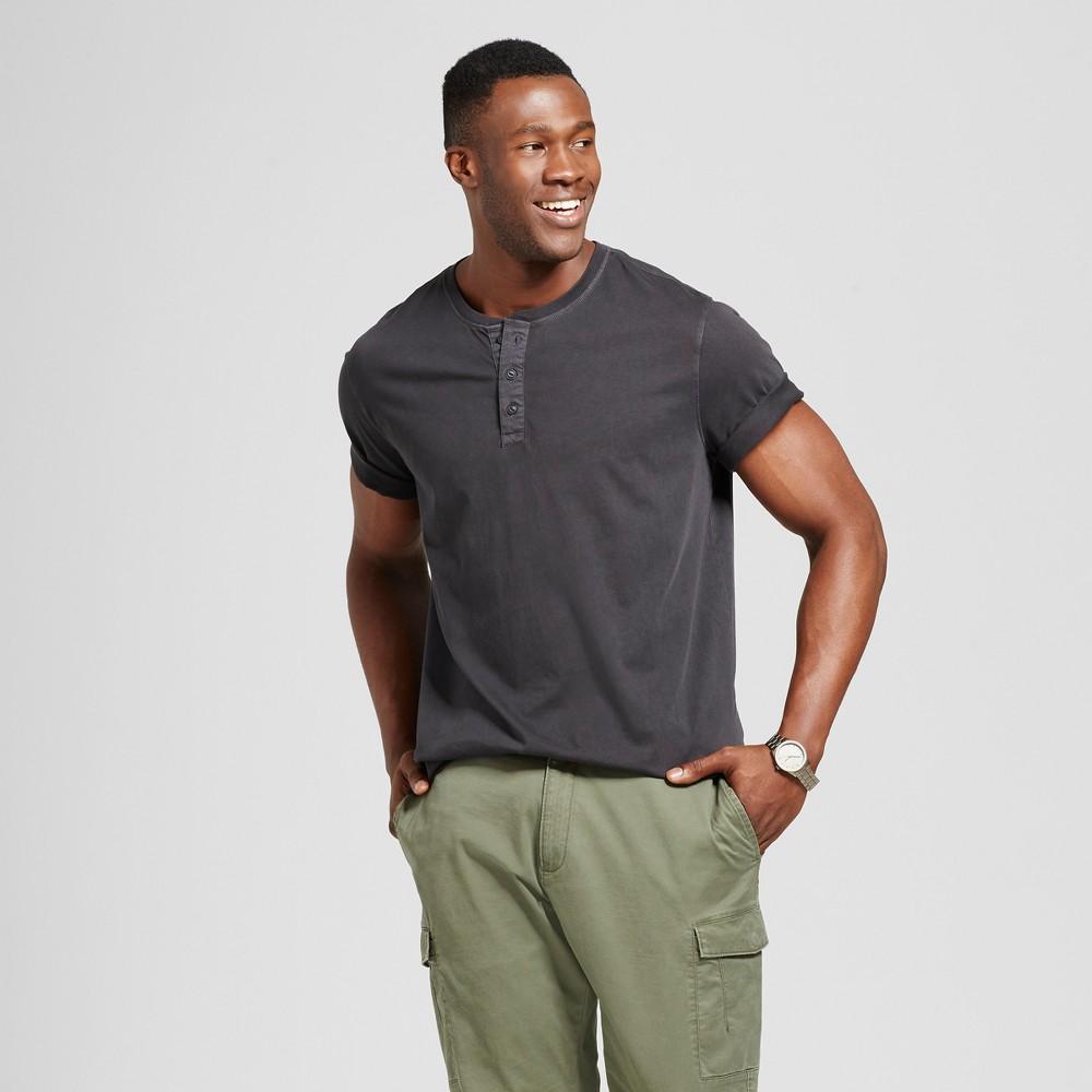 Mens Big & Tall Standard Fit Short Sleeve Henley T-Shirt - Goodfellow & Co Black 2XBT