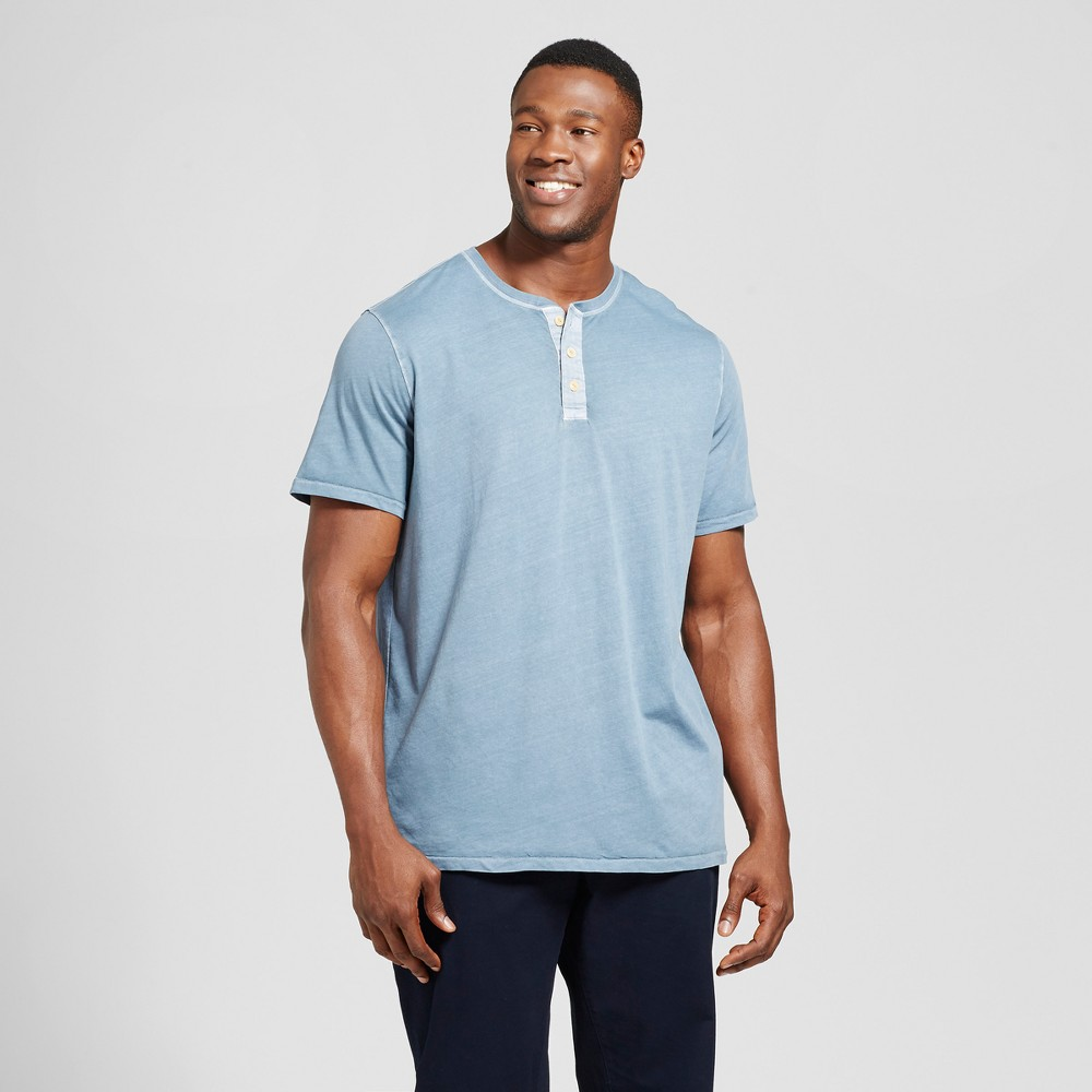 Mens Big & Tall Standard Fit Short Sleeve Henley T-Shirt - Goodfellow & Co Slate Blue 3XBT