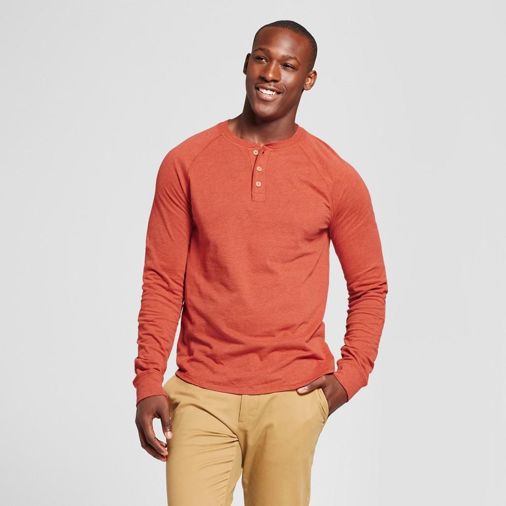 Mens Standard Fit Long Sleeve Henley T-Shirt - Goodfellow & Co Orange S