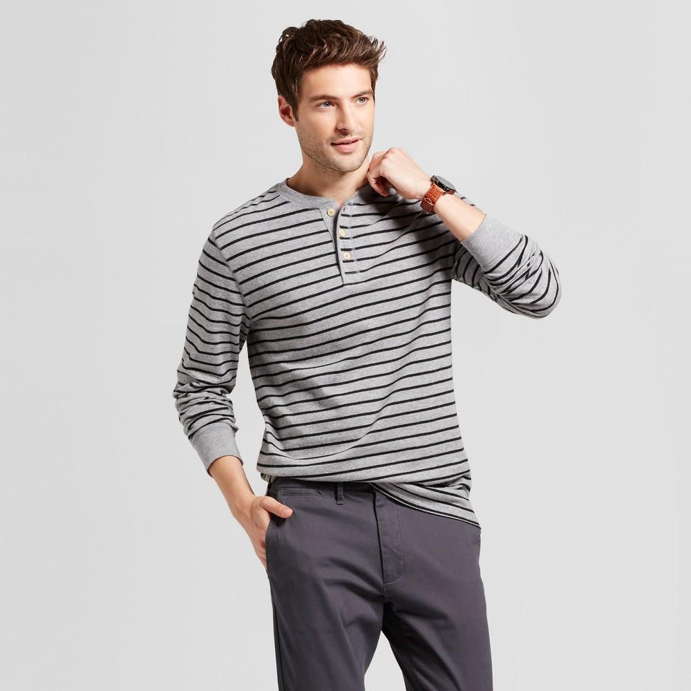 Mens Standard Fit Long Sleeve Henley T-Shirt - Goodfellow & Co Gray Stripe L