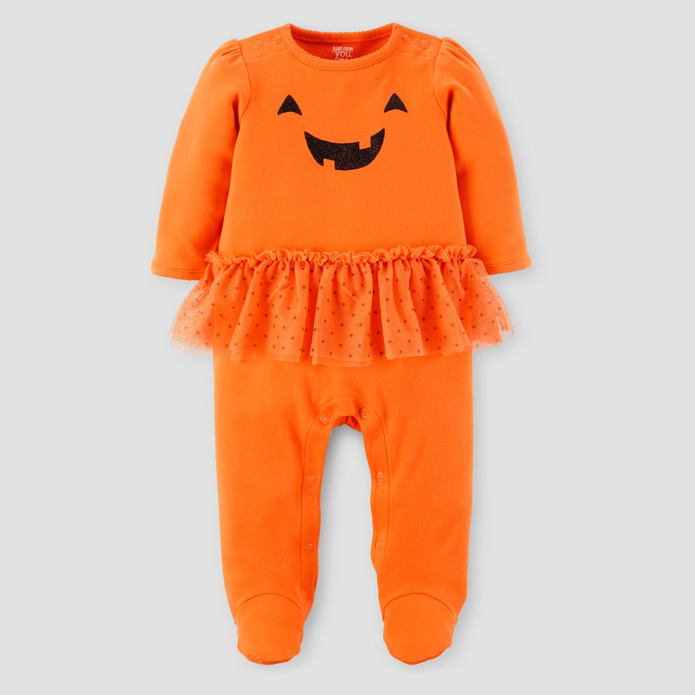 Baby Girls Pumpkin Tutu Sleep N Play - Just One You Made by Carters Orange 3M