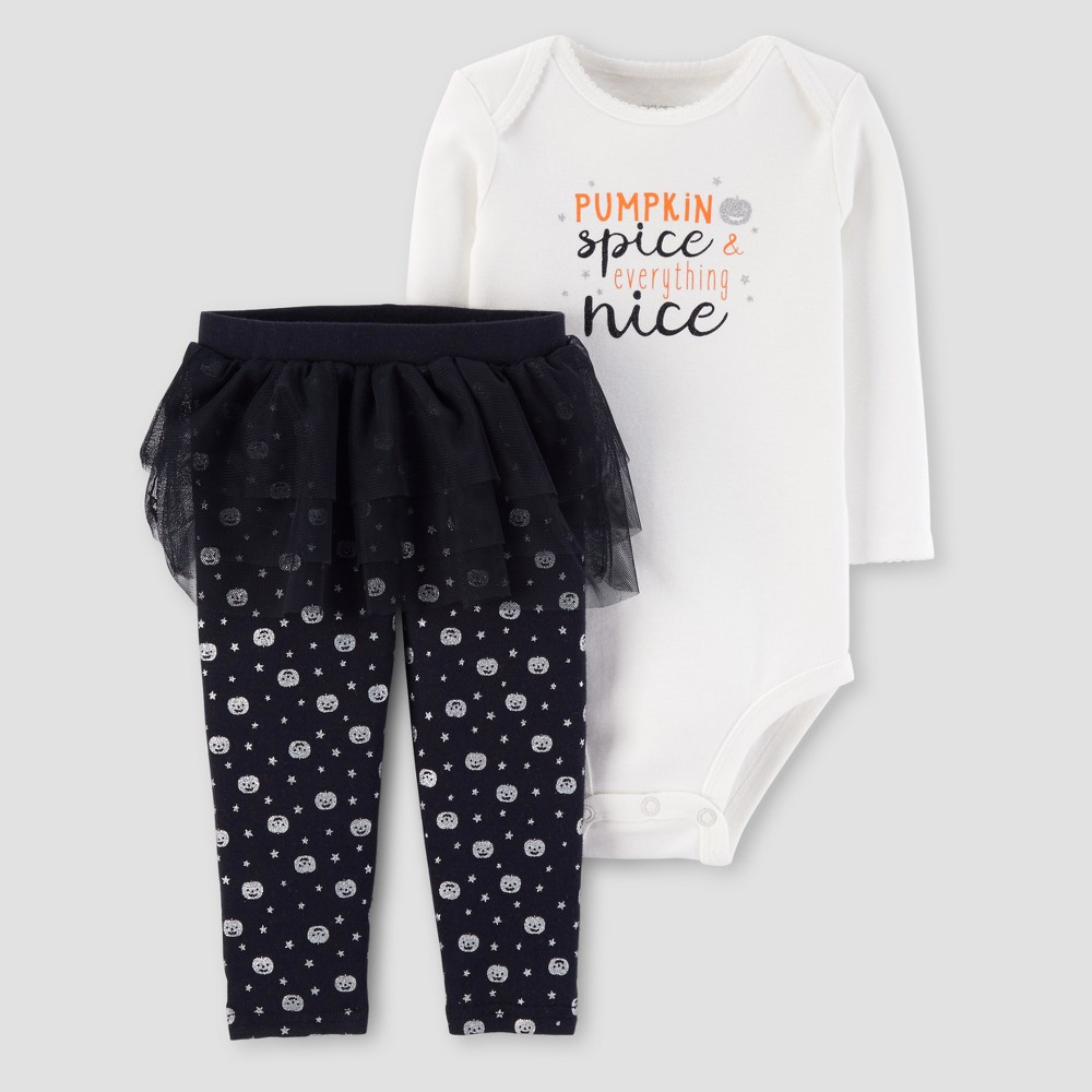 Baby Girls 2pc Pumpkin Spice Girl Tutu Set - Just One You Made by Carters White 9M