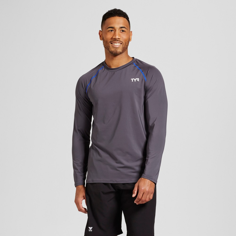 Mens Long Sleeve Rash Guard - Tyr White M