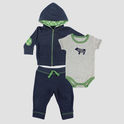 Yoga Sprout Baby Boys' Hoodie, Bodysuit and Pants Set - Gray 12-18M