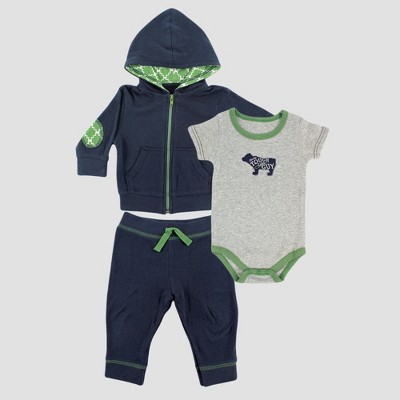 Yoga Sprout Baby Boys' Hoodie, Bodysuit and Pants Set - Gray 0-3M
