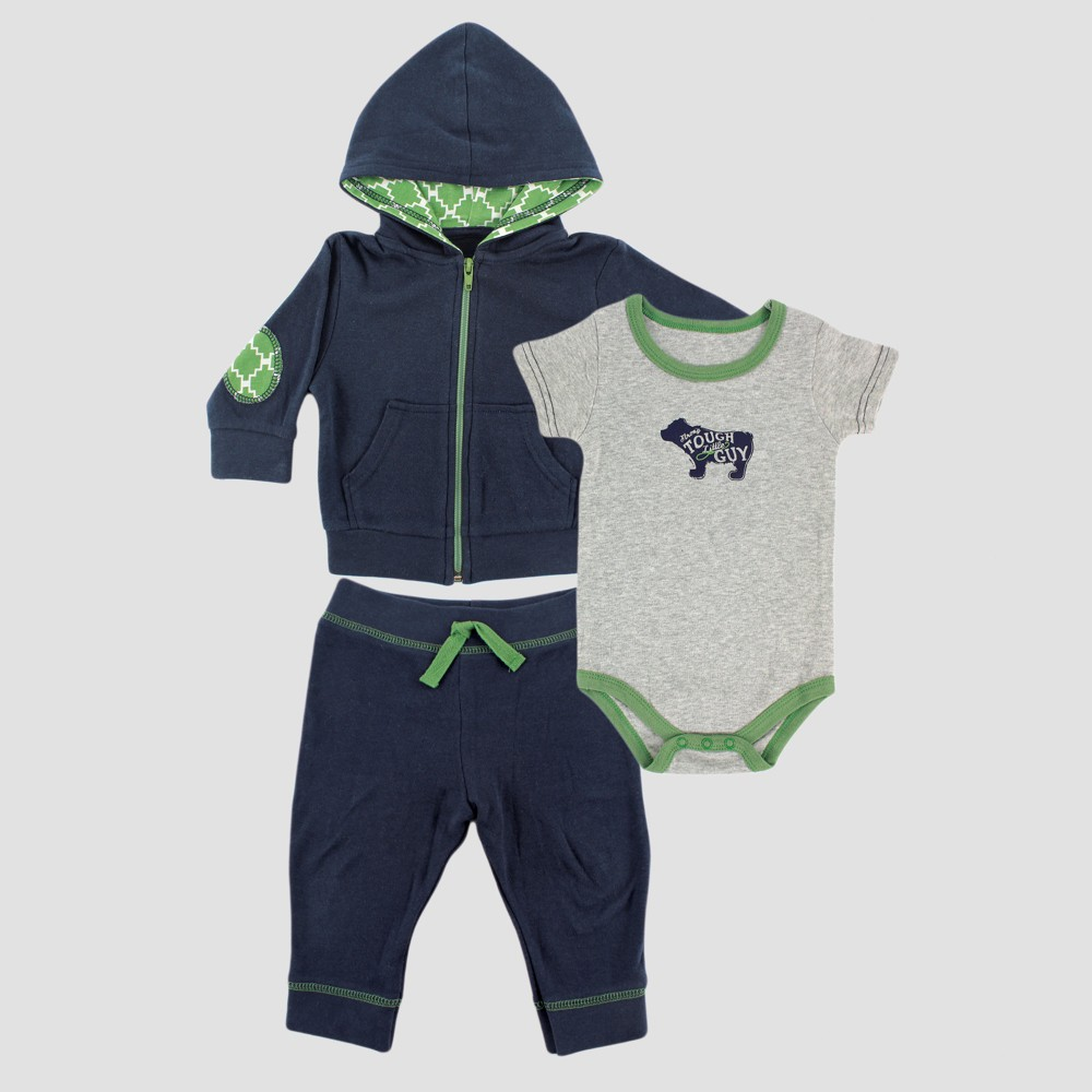 Yoga Sprout Baby Boys Hoodie, Bodysuit and Pants Set - Gray 0-3M, Size: 0-3 M