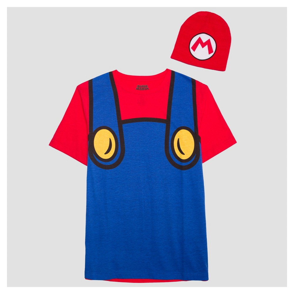 Mens Nintendo Mario with Hat Short Sleeve Graphic T-Shirt - Blue L