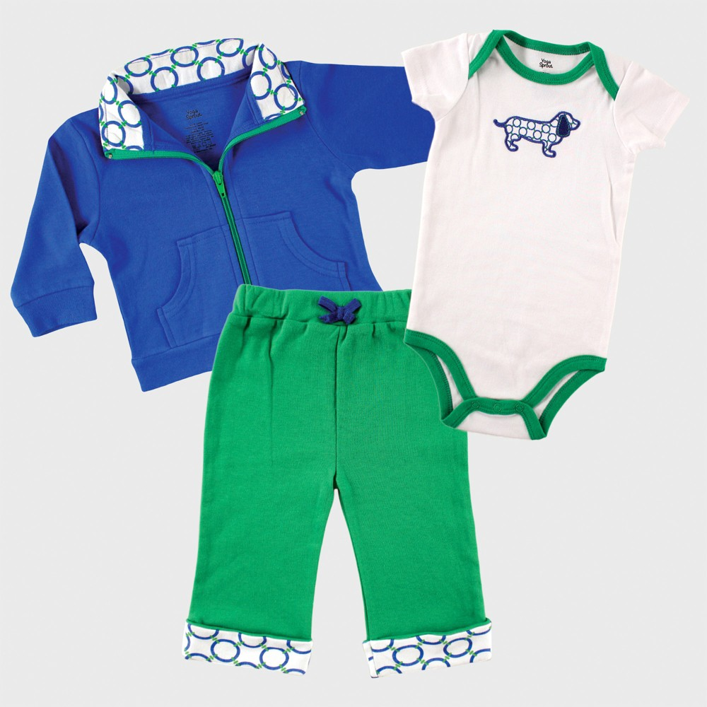 Yoga Sprout Baby Boys Jacket, Bodysuit and Pants Set - Green 0-3M, Size: 0-3 M