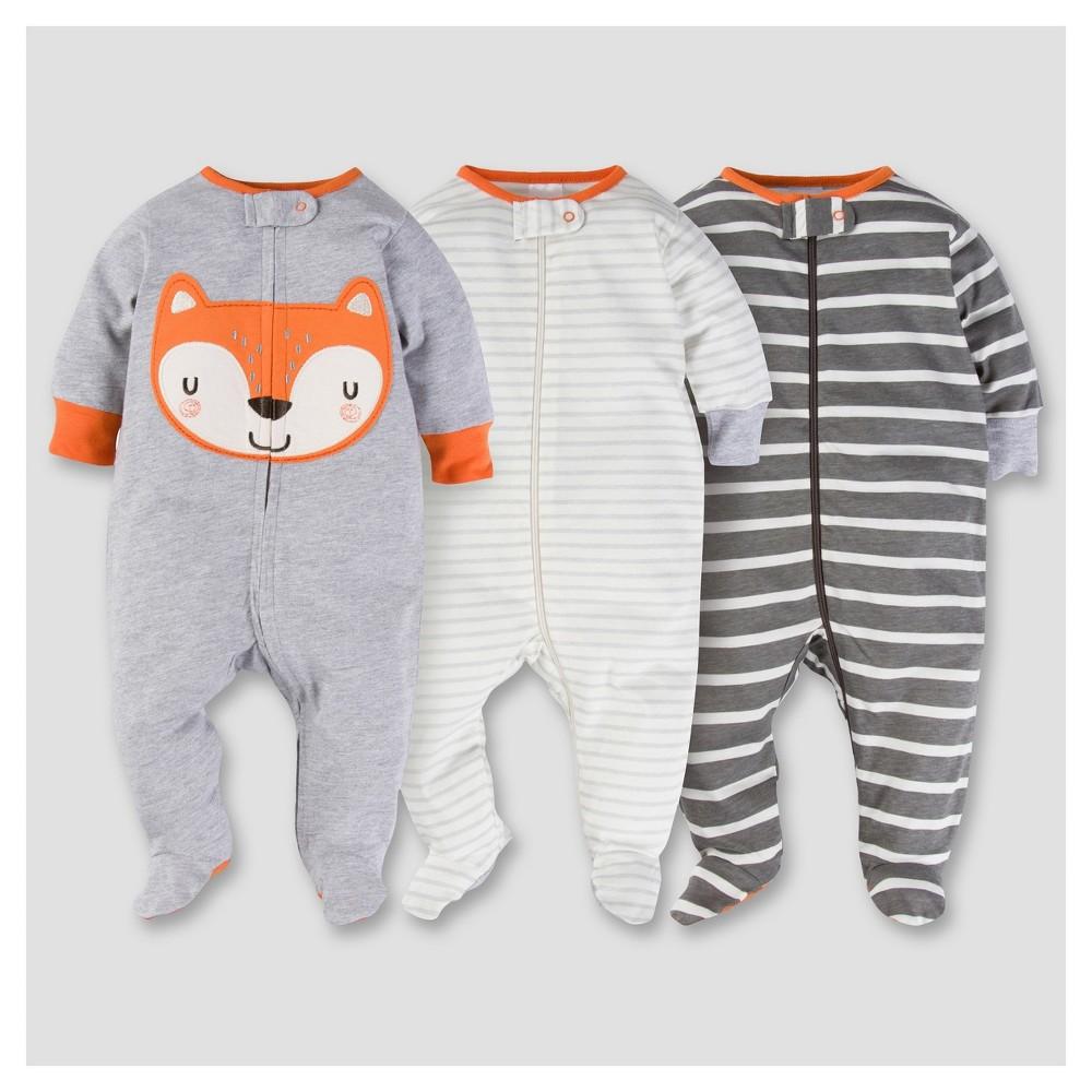 Baby Boys 3pk Zip Front Sleep N Play - Fox NB - Gerber, Gray