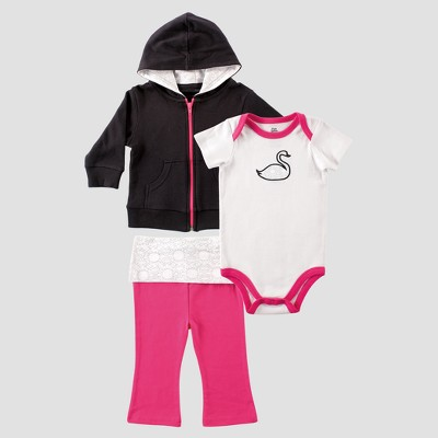 Yoga Sprout Baby Girls' Hoodie, Bodysuit and Pants Swan Set - Black 9-12M