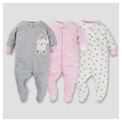 Baby Girls' 3pk Zip Front Sleep N Play - Bunny 0-3M - Gerber®